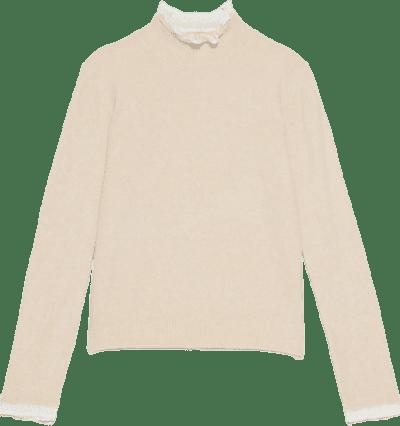 Beige High Neck Long Sleeve Knit Sweater