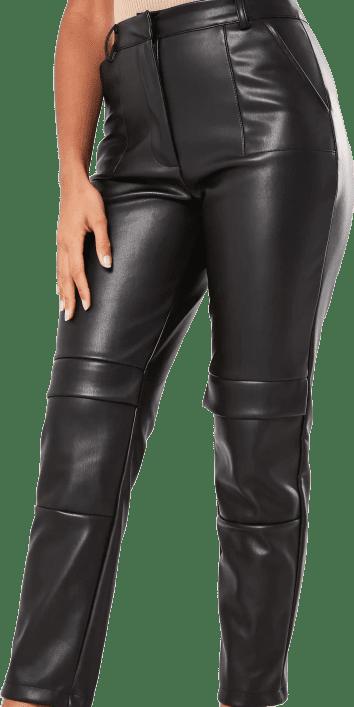 Black Faux Leather Cargo Cigarette Pants