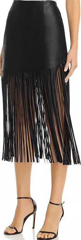 Black Fringed Faux Leather Midi Skirt-BAGATELLE.NYC