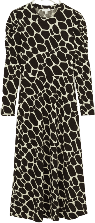 Black Giraffe Print Midi Dress-Warehouse