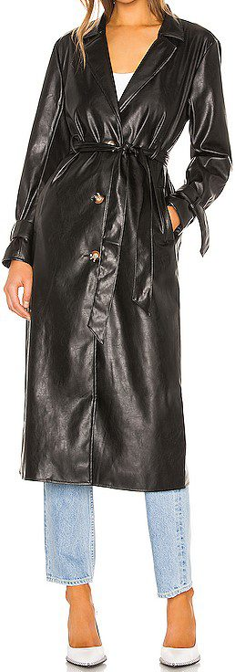 Black Leather Duster Jacket-Kendall + Kylie