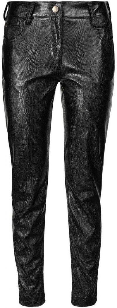 Black Python Effect Trousers