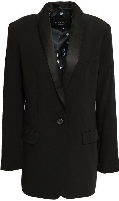 Black Satin-Trimmed Twill Blazer