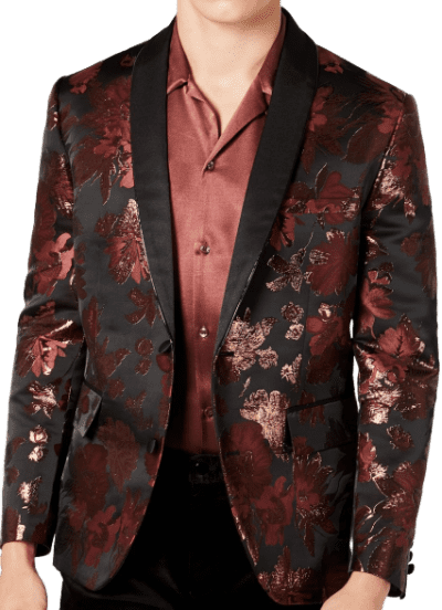 Brown Rust Comb Slim-Fit Jacquard Floral Blazer-INC International Concepts