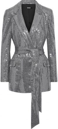 Double-Breasted Sequined Metallic Stretch-Jersey Blazer
