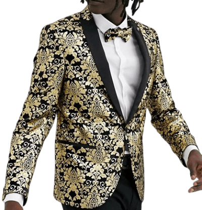Gold Baroque Print Super Skinny Velvet Blazer-Twisted Tailor