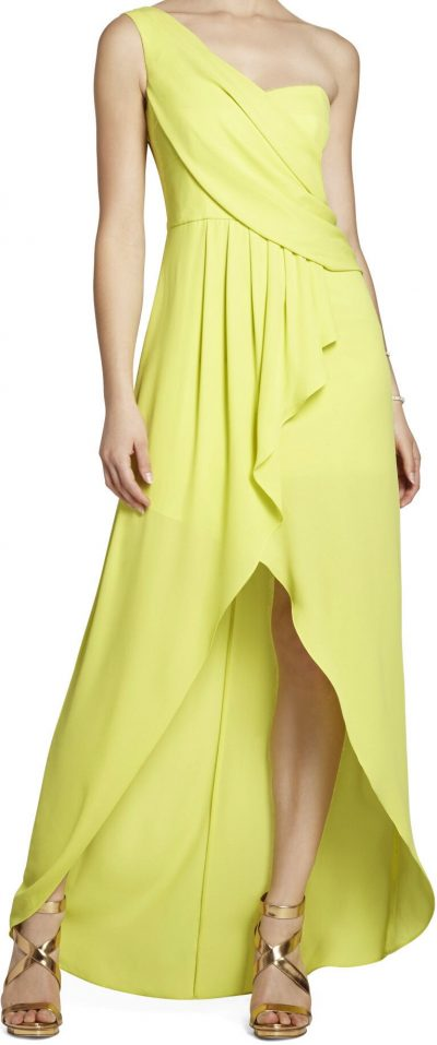 Green Kail Draped One-Shoulder Gown-BCBG Max Azria