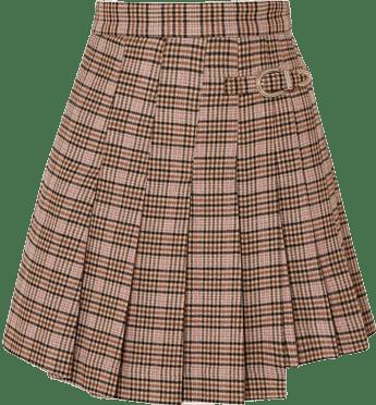 Jilo Buckled Pleated Checked Tweed Mini Skirt-Maje