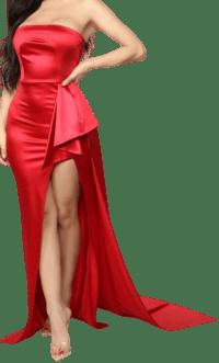 Red Glimpse Of Glamour Satin Gown-Fashion Nova