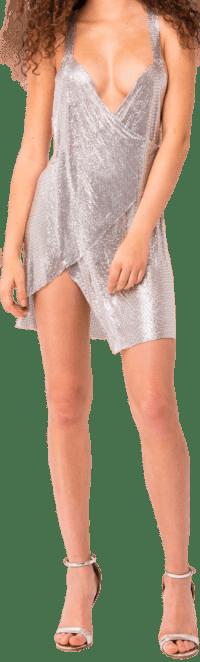 Silver Plunging Chainmail Dress-Kikiriki