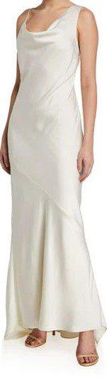 White Asymmetric Satin Slip Gown-Halston