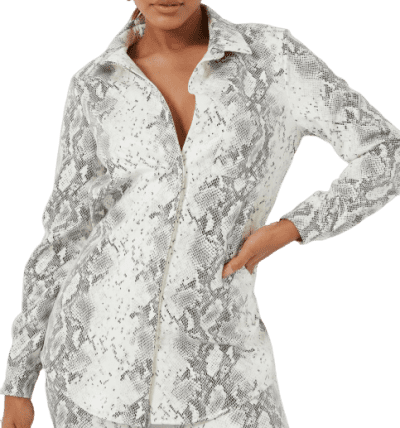 White Faux Leather Snake Print Oversized Shirt-Missguided