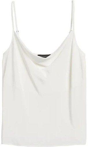 White Silk Cowl-Neck Camisole-Banana Republic