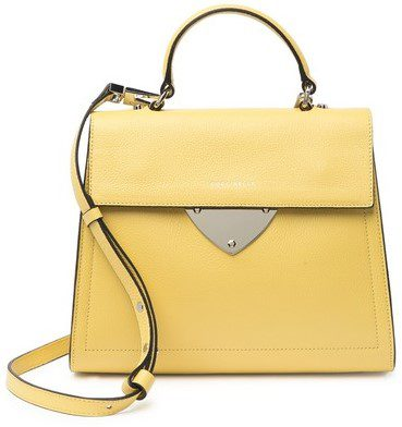 Yellow Leather Top Handle Satchel