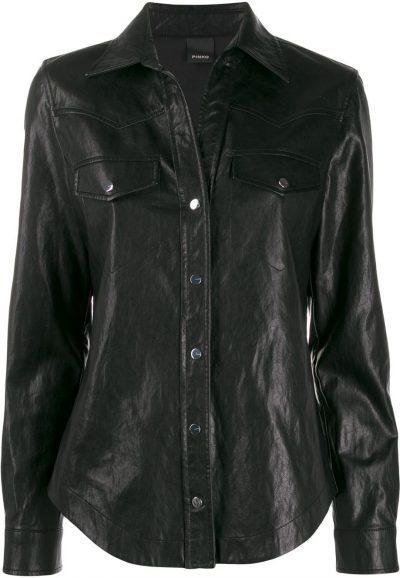 Black Faux-Leather Shirt-Pinko