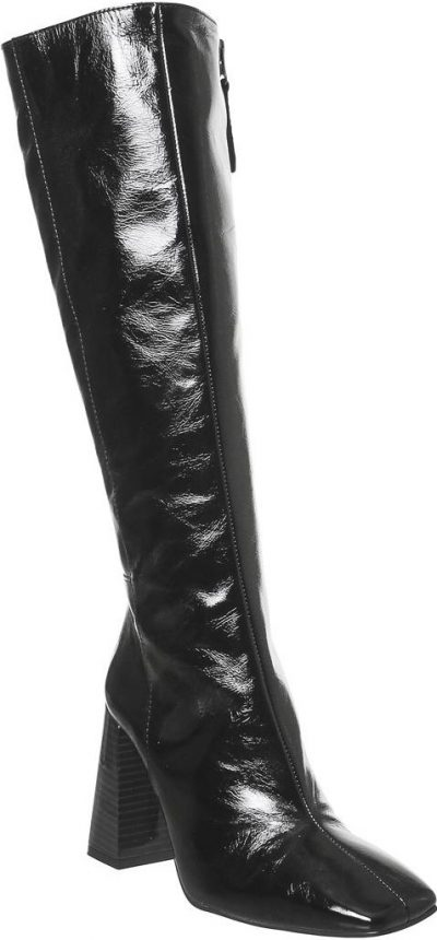 Black Leather Koyote Square Toe Block Heel Knee Boots-Office