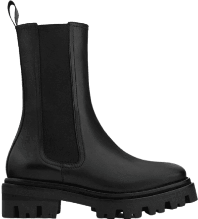 Black Leather Track Sole Ankle Boots-Uterque