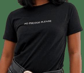 Black Petite No Photos Slogan T-Shirt