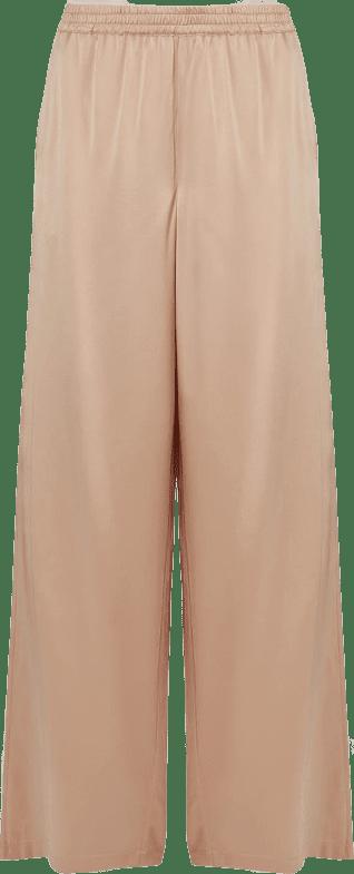 Dusty Pink Romy Wide-Leg Silk Trousers