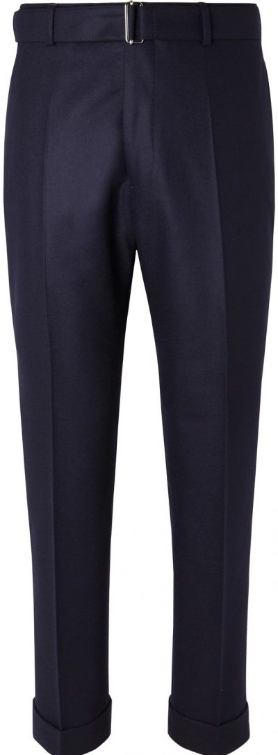 Navy Ollie Tapered Cropped Belted Wool-Flannel Trousers-Officine Generale