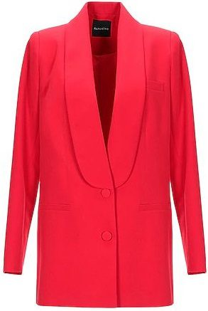 Red Plain Weaved Blazer