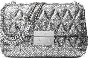 Silver Sloan Large Chain Shoulder Bag - Michael Michael Kors