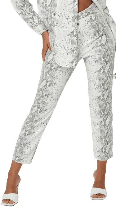 White Faux Leather Snake Print Straight Leg Pants-Missguided