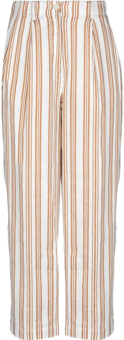 White Striped Casual Pants