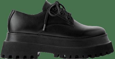 Black Flat Platform Derby Shoes