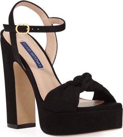 Black Mirri Suede Block-Heel Platform Sandals
