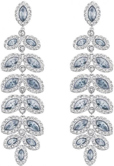 Blue Baron Rhodium Plated Clear Crystal Earrings-Swarovski