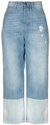 Blue Straight-leg Cotton Denim Pants