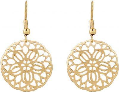 Gold Cutout Filigree Flower Drop Earrings