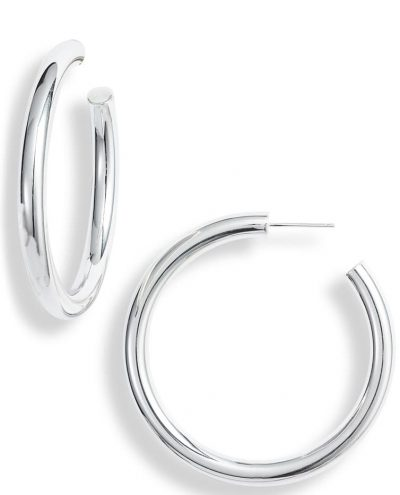Silver Lou Medium Hoop Earrings - Jennifer Zeuner