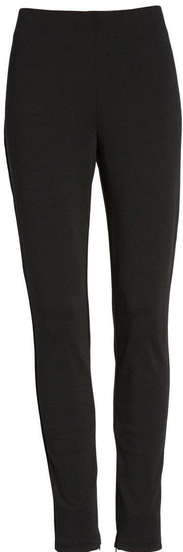 Black Zip Ankle Ponte Knit Leggings
