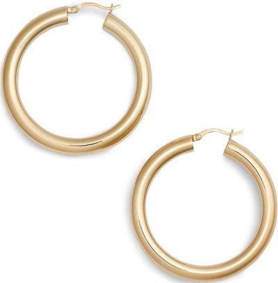 Gold Medium Hollow Hoop Earrings-Argento Vivo