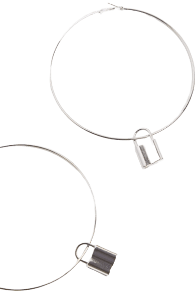 Silver Padlock Charm Extra Large Hoop Earrings - Pretty Little Thing