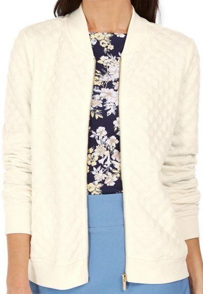 Cloud Textured Knit Bomber Jacket-Macys-79