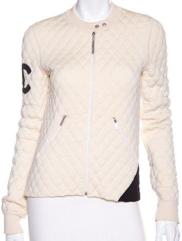 Cream Cambon & Black Quilted Ligne Bomber Jacket-Chanel-3000