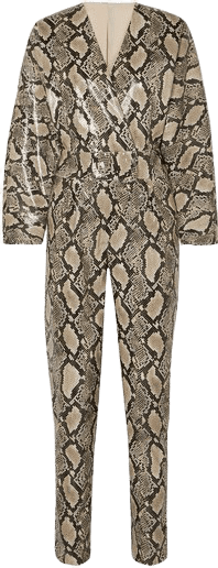 Amiya Snake-Effect Faux Leather Jumpsuit-Stand Studio
