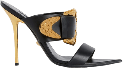 Black Barocco Western Mules-Versace
