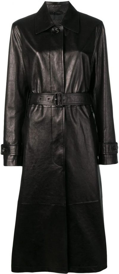Black Leather Trench Coat-Bottega Veneta