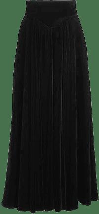Black Long Velvet Skirt-Alaia