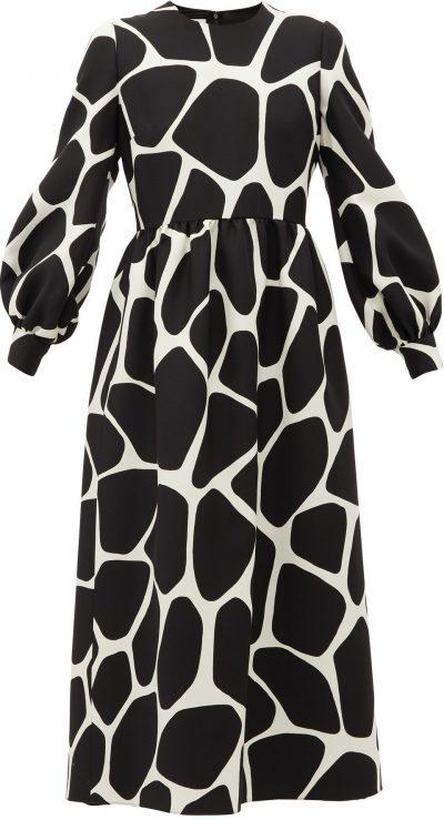 Giraffe-Print Wool-Blend Dress-Valentino