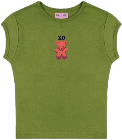 Green Xo Bear Baby Tee