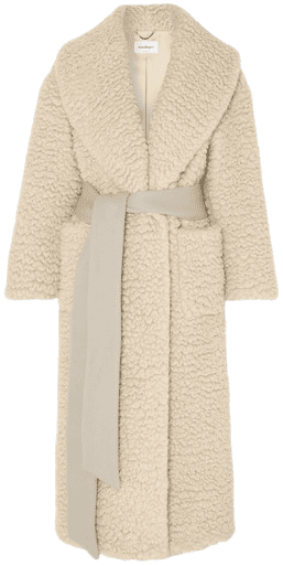 Ivory Belted Cashmere and Silk-Blended Coat