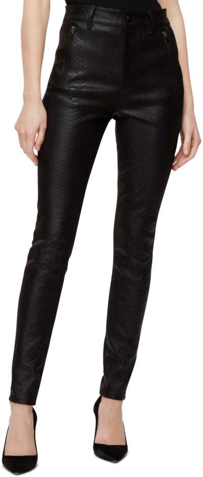 Lora Black Leather Super High-Rise Skinny Jeans