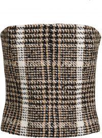 Plaid Wool Bouclé Bustier Top-Carmen March