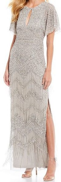 Silver Art Deco Beaded Mesh Gown