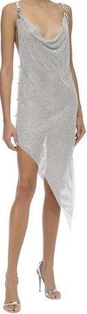 Silver Asymmetrical Crystal Mesh Dress-Giuseppe Di Morabito